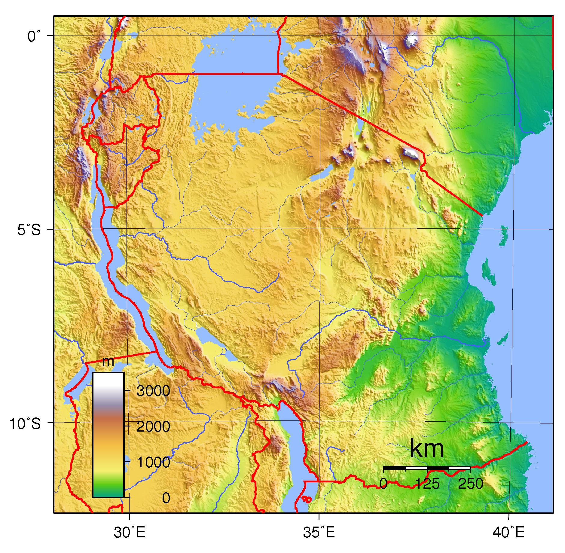 Tanzania physical map   Tanzania topographic map (Eastern Africa