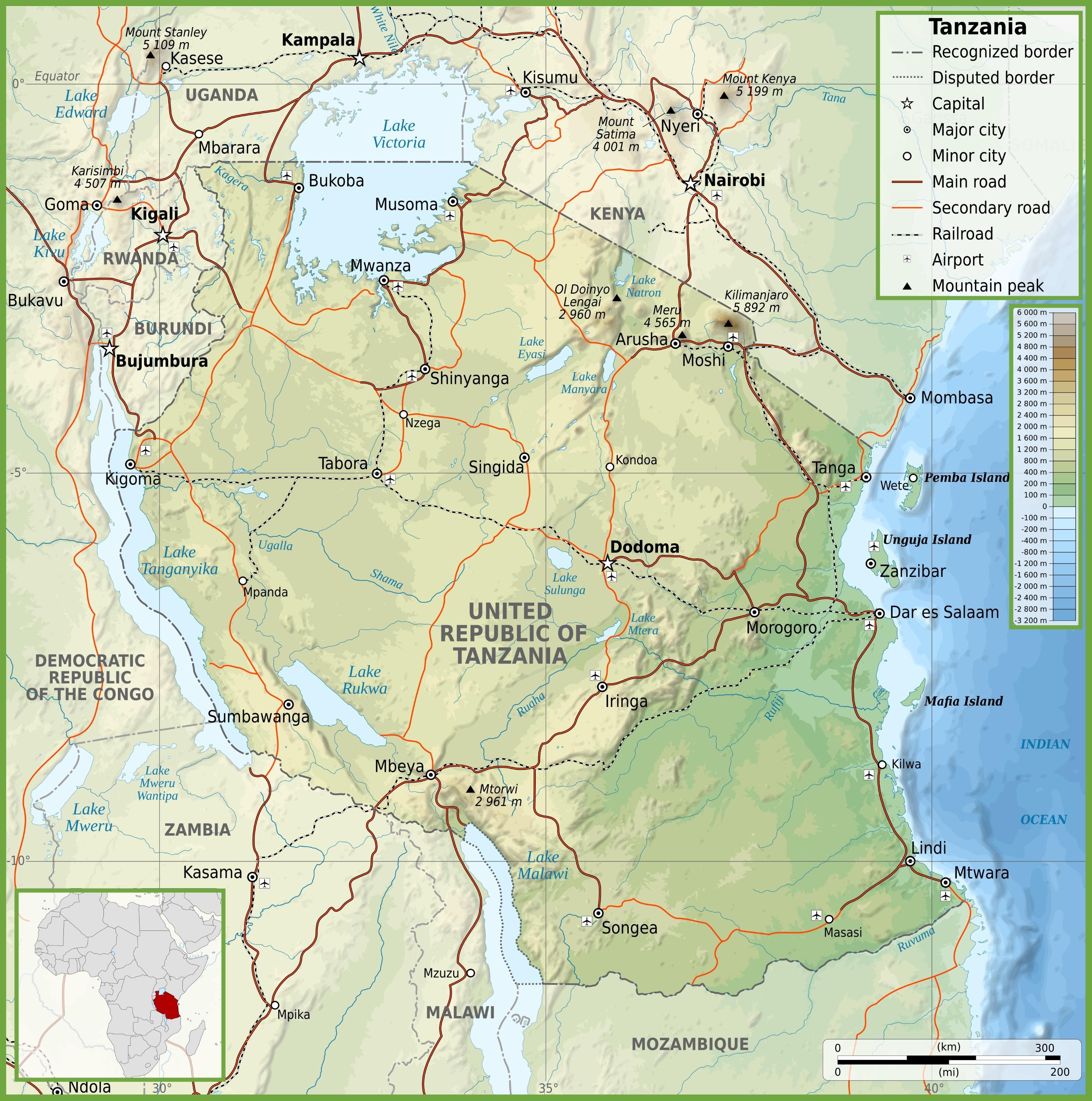east africa road map Tanzania Roads Map Tanzania Road Map With Kilometers Eastern east africa road map