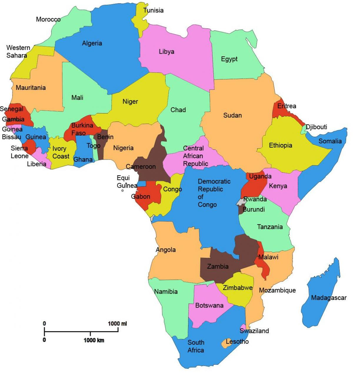 map of africa showing tanzania
