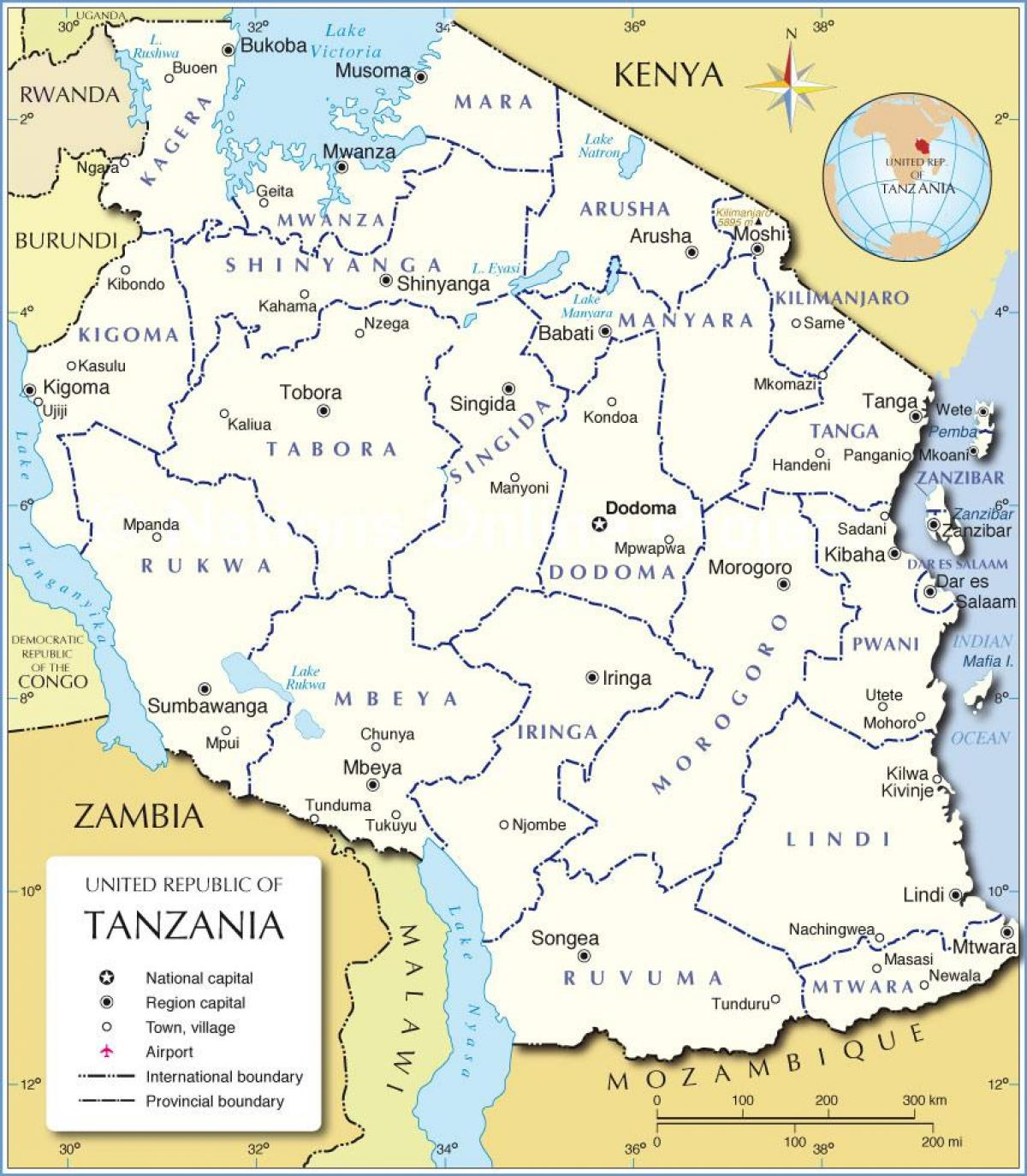 Map of tanzania with district