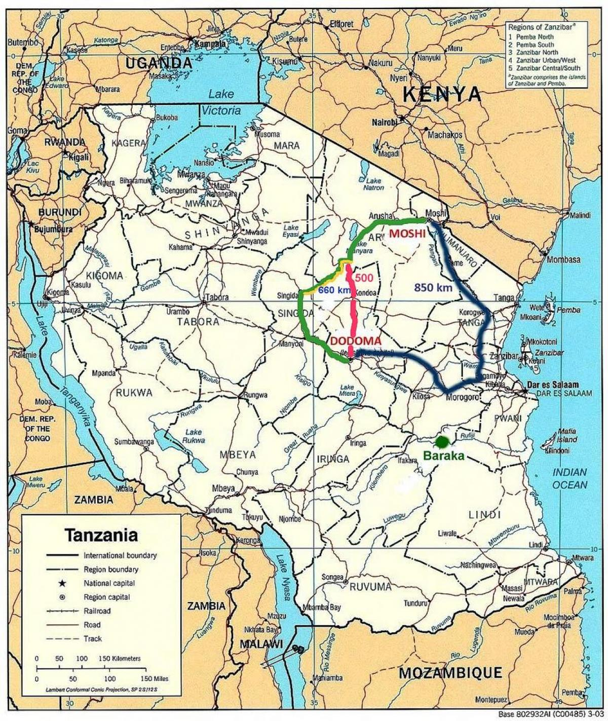 East Africa Road Map.Tanzania Road Map Tanzania Road Network Map Eastern